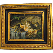 Antique 19th C. English Oil on Board Kittens Painting  in Biggs & Sons Frame