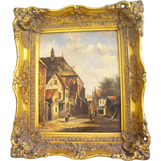 Antique 19th C. English Oil on Board Cityscape Painting