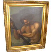 "Antique French 17th C. Oil on Canvas Painting Portrait of ""Hercules"""