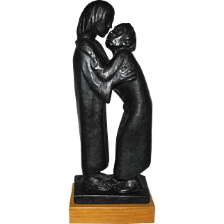 "Ernst Barlach (German, 1870-1938) ""The Reunion"" Bronze Plaster Sculpture of a Couple"