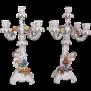 Pair of Antique German Dresden Carl Thieme Porcelain Putti Figural Candelabras
