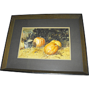 Jack Deloney (Alabama) Southern Farm Pumpkins Still Life Watercolor Painting