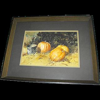 Jack Deloney (Alabama) Southern Farm Pumpkins Still Life Watercolor Painting