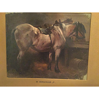 Attributed to Wouterus Verschuur Jr. Antique Dutch 19th C. Oil on Cardboard Panel Horse Painting