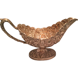 Antique Baltimore Silversmiths /Schofield Sterling Silver Repousse Baltimore Rose Gravy Boat