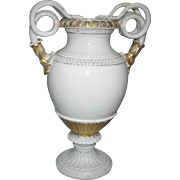 Antique Meissen Porcelain Snake Handled Vase / Urn