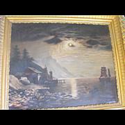 Antique Luminous School Oil on Canvas Ships / Coastal Scene Painting