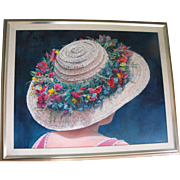 Charles E. Showalter Oil on Canvas Painting Portrait of a Lady in a Floral Hat