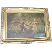 Antique Oil on Canvas Painting Allegorical/Mythical Puck Dancing with Half Nude Women