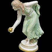 Antique Meissen Bowler Bowling Lady Girl German Porcelain Figurine Figural