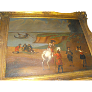 Antique 18th C. Spanish School Oil on Canvas Painting Military Solider on Horse
