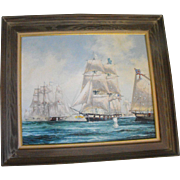 James M. Umstattd (20th C.) Oil and Acrylic on Panel Painting of the Naval Battle of Lake Erie