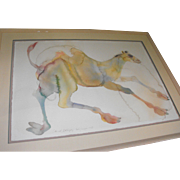 "Large Carol Grigg Original Watercolor on Paper Camel Painting ""Baby Camille"""
