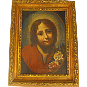 School of Carlo Dolci Antique 17th C Oil on Canvas Portrait Painting of a Saint