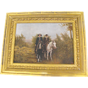 Antique 19th C Oil on Board Western American Horse Riders on Horseback