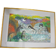 Julia Lopez Mexican Oil on Paper Painting of Nude People Bathing