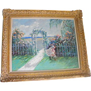 Robert Lui 1959 Impressionism Oil on Canvas Painting of A Girl Picking Flowers