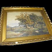 Max Schmidt (1818-1901) Antique 19th C. German Watercolor Landscape Painting