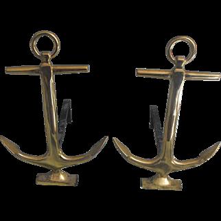 Naval Ship Anchor Nautical Brass Andirons