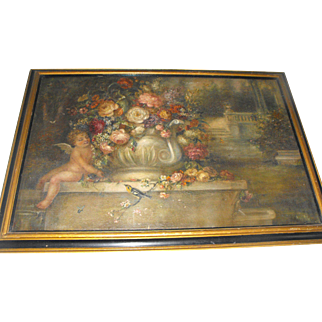 Large Antique Still Life Oil on Canvas Painting Flowers Floral Cherub Garden