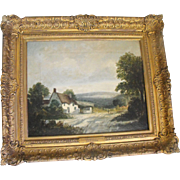George Burrell Willcock Antique Oil on Canvas Painting Rural Cottage Landscape