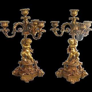 Pair of Antique Ormolu Bronze Cherub / Putti Louis XVI Style 4-Light Candelabra