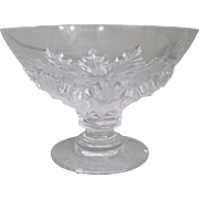 Lalique Crystal Holly Leaf Footed Center Bowl / Compote