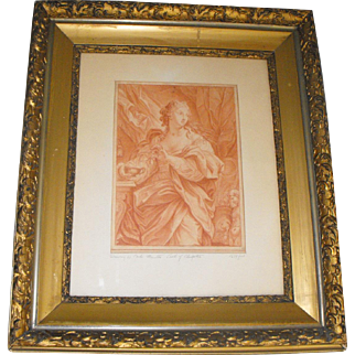 After Carlo Maratta Antique 17th/18th C. Italian Red Chalk Drawing of Cleopatra