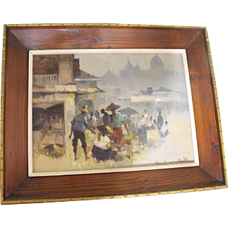 Cesar Buenaventura y Espinosa (Filipino) Oil on Canvas Marketplace Painting