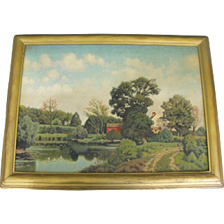 George W. Drew (1875-1968) Oil on Canvas Painting - Farm Landscape with Pond