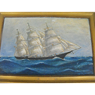 Antique 19th C. American Oil on Canvas Dreadnaught Seascape with Ship Painting