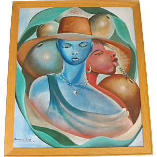 Shanequa Gay Oil on Canvas Portrait Painting of Two Ladies