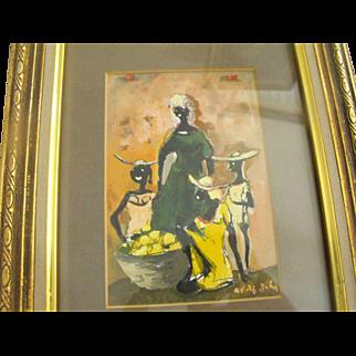 "Adolf Arthur Dehn ""Woman in Green"" Watercolor Painting"