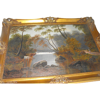 Attributed to Alfred Walter Williams Antique 19th C. English Oil on Canvas River Landscape with Cows Painting