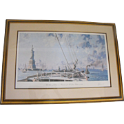 John Stobart Statue of Liberty in New York Harbor Lithograph Print