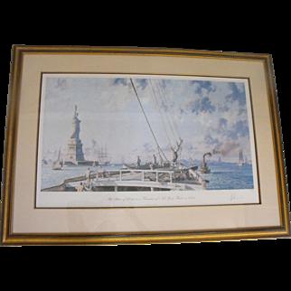John Stobart Statue of Liberty in New York Harbor Lithograph Print