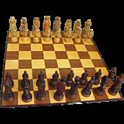 "Vintage Anri Hand Made Wooden Italian ""King Arthur"" Chess Set"