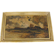 Antique 19th C European Oil on Canvas Painting Cottage River Landscape with Animals