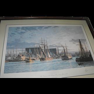 John Stobart Chicago River Boats Harbor Scene Lithograph Print