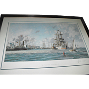 "John Stobart ""Galveston"" ""The Bark Elissa Leaving Port in 1884"" Lithograph Print"