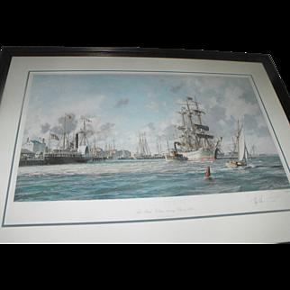 """John Stobart """"Galveston"""" """"The Bark Elissa Leaving Port in 1884"""" Lithograph Print"""