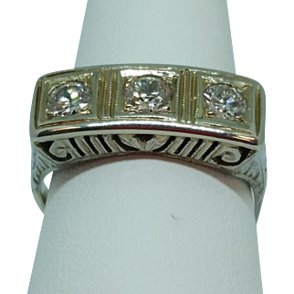 Vintage 18K White Gold Three Diamond Filigree Ring