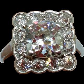 Vintage 18K White Gold Cushion Cut Fancy Diamond Ring