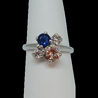 Ladies Four-stone Diamond and Sapphire Ring