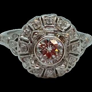 Vintage Platinum Fancy Diamond Ring