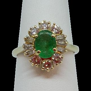 18K Yellow Gold Emerald and Diamond Ballerina Ring