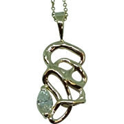 Free-Form Marquise Diamond and Gold Pendant