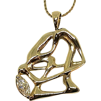 VS2 Marquise Diamond and 14K Yellow Gold Free-Form Pendant