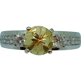 Fancy Golden Beryl and Diamond Ring