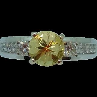 Fancy Golden Beryl and Diamond Ring